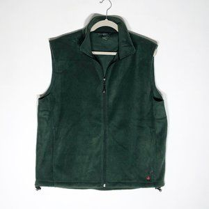 Woolrich Fleece Vest Mens Large Green Zip Front